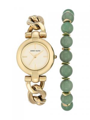 Часы ANNE KLEIN. Цвет: зеленый, золотистый