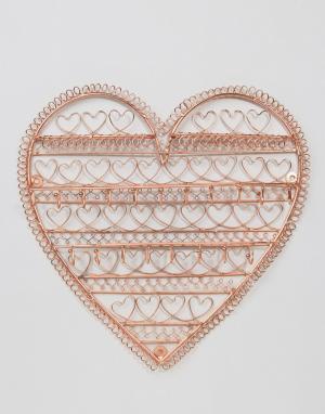 Sass & Belle Медный держатель для украшений в форме сердца. Цвет: медный