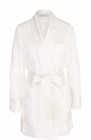 Удлиненный жакет с накладными карманами и поясом Racil. Цвет: белый