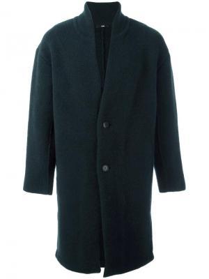 Однобортное пальто System Homme. Цвет: зелёный