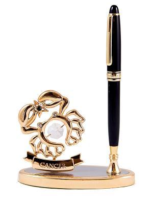 Подставка под ручку - знак зодиака Рак CRYSTOCRAFT. Цвет: золотистый, черный