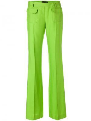 Расклешенные брюки со складками Talbot Runhof. Цвет: зелёный