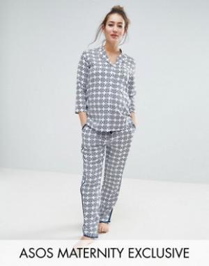 ASOS Пижамный комплект из рубашки и брюк с мозаичным принтом для беременных. Цвет: синий