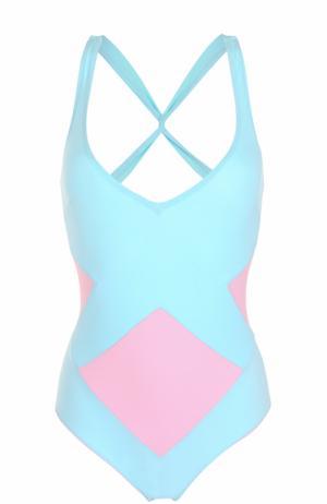 Слитный купальник с контрастной отделкой и открытой спиной NATAYAKIM. Цвет: голубой