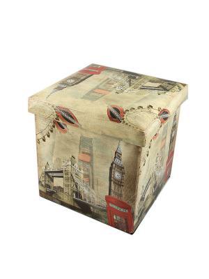 Пуф складной Лондон с местом для хранения Русские подарки. Цвет: черный,бежевый,красный