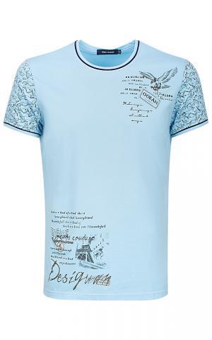 Голубая футболка с принтом Jorg weber