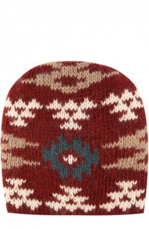 Вязаная шапка с узором Tak.Ori. Цвет: бордовый