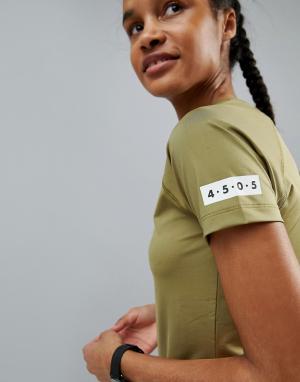 ASOS 4505 Обтягивающая спортивная футболка. Цвет: зеленый