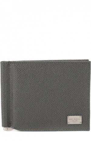 Кожаное портмоне с отделением для кредитных карт Dolce & Gabbana. Цвет: серый