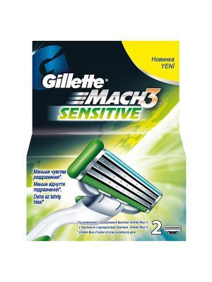 Cменные кассеты для бритья MACH3 Sensitive, 2 шт GILLETTE. Цвет: зеленый