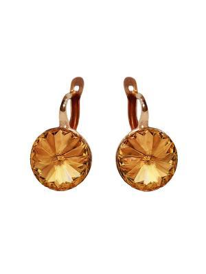 Серьги Enigme с медовыми кристаллами Swarovski Mademoiselle Jolie Paris. Цвет: темно-коричневый, терракотовый, коричневый, бронзовый, светло-коричневый, рыжий, светло-оранжевый, оранжевый, золотистый, желтый