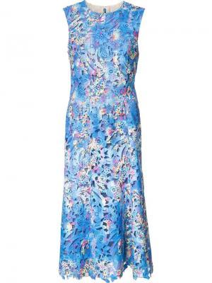 Платье с цветочной вышивкой Monique Lhuillier. Цвет: синий