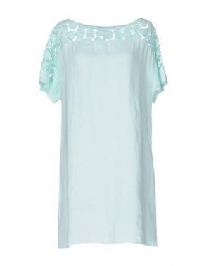 Короткое платье LA FABBRICA DEL LINO. Цвет: бирюзовый