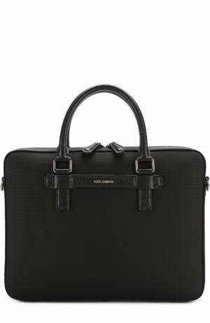 Сумка для ноутбука с плечевым ремнем Dolce & Gabbana. Цвет: черный