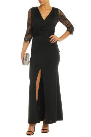 Вечернее платье в пол с разрезом LITTLE MISTRESS. Цвет: черный