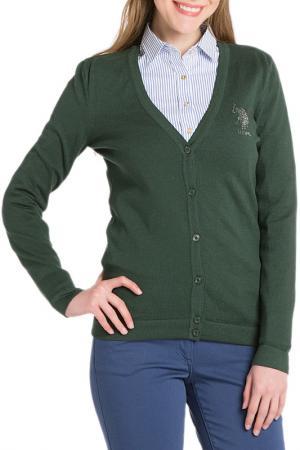 Кардиган U.S. Polo Assn.. Цвет: vr079 темно-зеленый