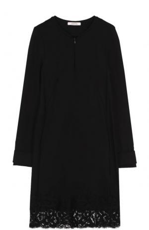Платье с длинным рукавом и кружевной отделкой Dorothee Schumacher. Цвет: черный