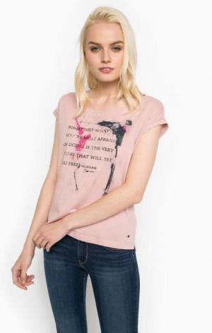 Хлопковая футболка с круглым вырезом Mustang. Цвет: розовый