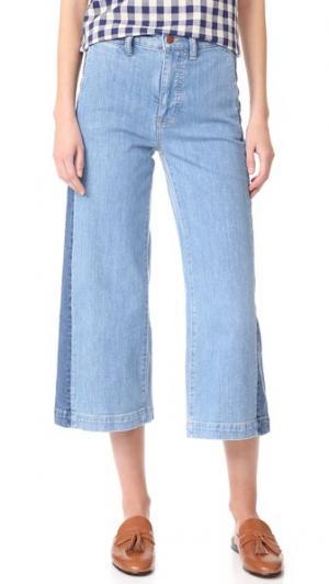 Широкие укороченные джинсы с лампасами Madewell. Цвет: ellendale