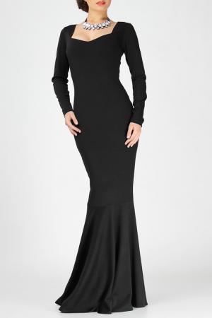 Платье макси с длинным рукавом FIFI LAKRES. Цвет: черный