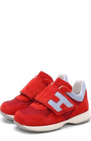 Замшевые кроссовки с застежками велькро Hogan. Цвет: красный