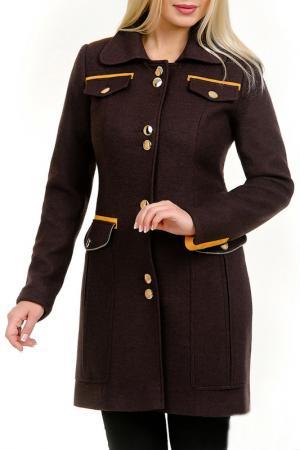 Пальто Авейра LESYA. Цвет: коричневый