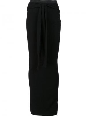 Длинная юбка с запахом Unravel Project. Цвет: чёрный