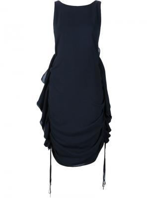 Платье с оборками по бокам Audra. Цвет: синий