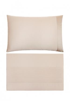 Комплект постельного белья ЕВРО Luxberry. Цвет: бежевый