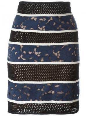 Перфорированная юбка Veronique Leroy. Цвет: многоцветный