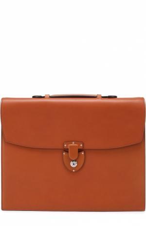 Кожаный портфель с двумя внутренними отделениями Bertoni. Цвет: коричневый