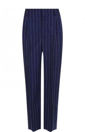Укороченные шерстяные брюки в полоску Ralph Lauren. Цвет: темно-синий