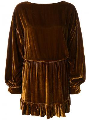Платье с вырезом-лодочкой Ulla Johnson. Цвет: коричневый