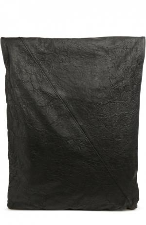 Кожаный рюкзак с отделкой из льна Isabel Benenato. Цвет: черный