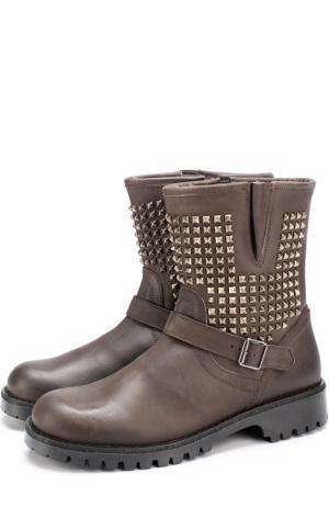 Кожаные сапоги с заклепками и внутренней меховой отделкой Gallucci. Цвет: серый
