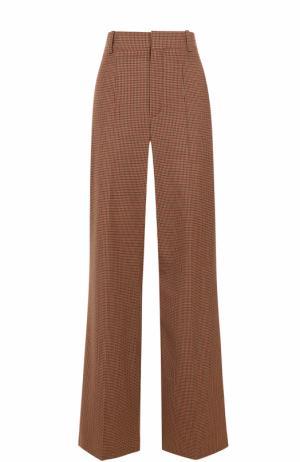 Расклешенные брюки в клетку со стрелками Chloé. Цвет: коричневый