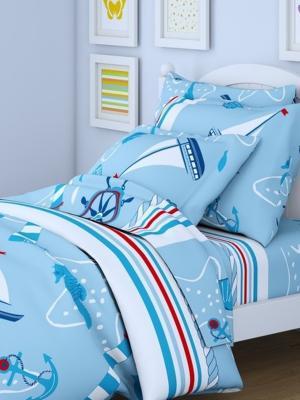 Комплект в кроватку Ясли BGR-47, перкаль, простыня на резинке Letto. Цвет: темно-синий