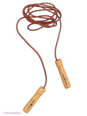 Скакалка с деревянными ручками Wooden skip rope with leather cord Mad Wave. Цвет: бежевый, коричневый
