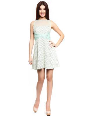 Платье TOPSANDTOPS. Цвет: кремовый, светло-зеленый