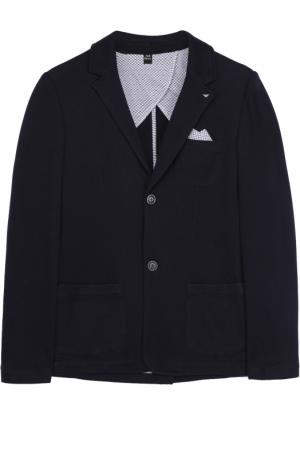Однобортный пиджак джерси Giorgio Armani. Цвет: темно-синий