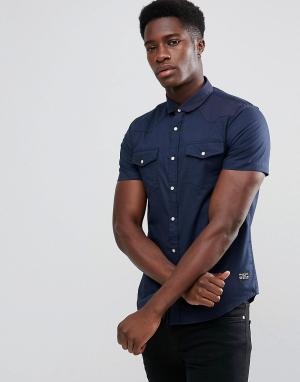 Brave Soul Рубашка с короткими рукавами и двумя карманами. Цвет: темно-синий