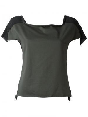 Блузка с квадратным вырезом Ma+. Цвет: зелёный