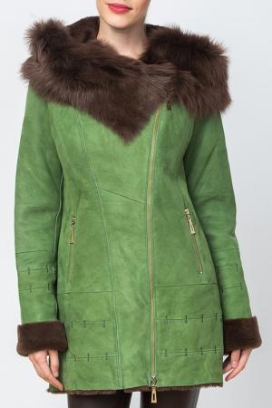 Дубленка Mondial. Цвет: зеленый
