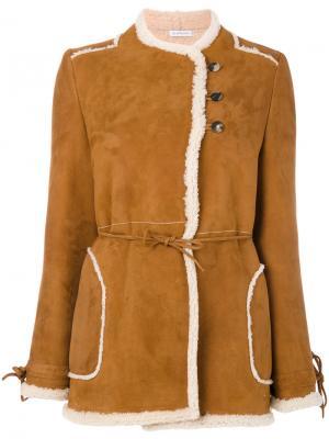 Двубортная куртка из овечьей кожи JW Anderson. Цвет: телесный