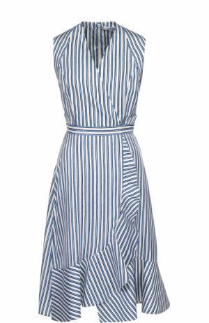 Шелковое платье в контрастную полоску с запахом и оборками Carven. Цвет: голубой