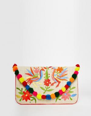Moyna Джутовый клатч с вышивкой и помпонами. Цвет: мульти