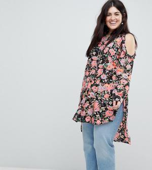 Koko Рубашка с открытыми плечами и цветочным принтом. Цвет: мульти