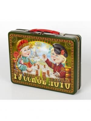 Лото Русское Посиделки (жестяной чемоданчик) Десятое королевство. Цвет: желтый, зеленый, красный
