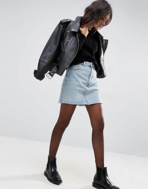 ASOS Выбеленная джинсовая мини-юбка с завышенной талией. Цвет: синий