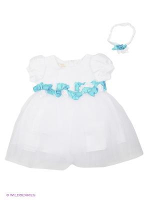 Платье Perlitta. Цвет: белый, голубой